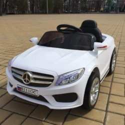 Электромобиль Мерседес Б111ОС белый (колеса резина, сиденье кожа, пульт, музыка)