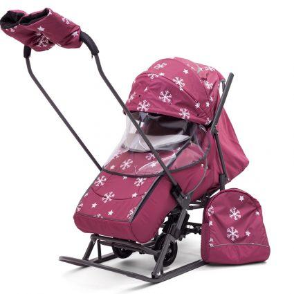 Санки-коляски Pikate Снежинки «Малина» (материал «Dewspoo» плотностью 240 D, овчина, 3 положения спинки, краска рамы темно-серый)
