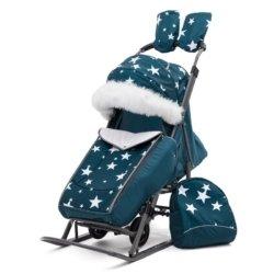Санки-коляски Pikate Звезды «Аквамарин» (тент от дождя и мокрого снега, овчина, 3 положения спинки, краска рамы темно-серый)